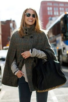 Tweed cape. fashion.  http://www.annabelchaffer.com/categories/Handbags-and-Hats/