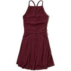 Hollister Ribbed High Neck Skater Dress (£24) ❤ liked on Polyvore featuring dresses, burgundy, high neck skater dress, burgundy skater dress, red high neck dress, skater dress and open back skater dress