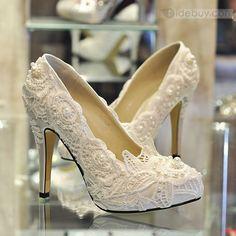Luxurious Elegant Lace Flower Rhinestones Wedding Shoes : Tidebuy.com