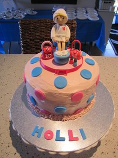 Cake made by me, girl figurine and accessories made by a friend.