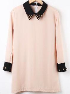 Light Khaki Contrast Collar Long Sleeve Rivet Dress