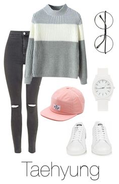 """Taehyung Inspired w/ Snapback"" by btsoutfits ❤ liked on Polyvore featuring Retrò, Topshop, Chicnova Fashion, adidas, Vans, Nixon, women's clothing, women, female and woman"