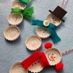 Crafty Lumberjacks: Bottle Cap Snowmen - Schneemänner aus Kronenkorken...