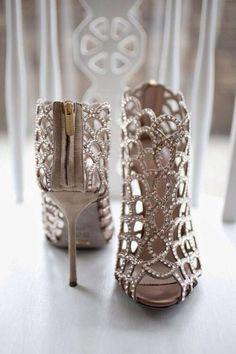 Jeweled strappy zip up heels