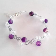 Silver Wirewoven Bracelet with Sparkle and Violet Agate