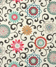 Waverly Pom Pom Play Sun N Shade Peachtini Fabric - $9.8 | onlinefabricstore.net #pink #blue #kitchen
