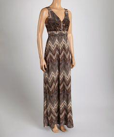 Loving this Gray Zigzag Surplice Maxi Dress on #zulily! #zulilyfinds