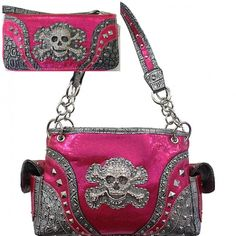 Hot Pink Skull Studded Concealed Purse W Matching Wallet  #HBM #Hobo