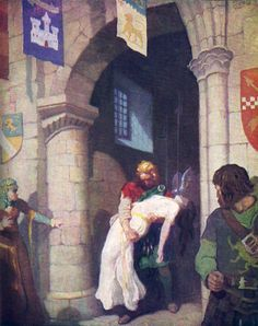 """The wounded Helen: """"The Scottish Chiefs"""" by Jane Porter / Illustrated by N.C. Wyeth  (Scribner, 1941)"""