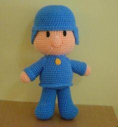 pocoyo juguete muñeco lana bebe,vellon siliconado,pañolenzi crochet,costura a mano