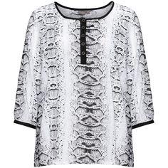 Zhenzi Black / White Plus Size Snakeskin print blouse (£39) ❤ liked on Polyvore