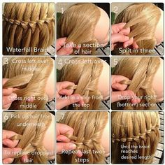 Ever want a nice hairstyle for school or everyday? This is the waterfall braid step by step. It's really pretty, but take a while. You might consider doing it on a doll before a person.