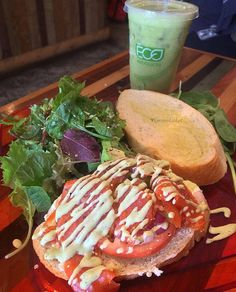 Chef's Special  #HiBlend  House Cured Wild Alaskan Sandwich & Health In A Cup