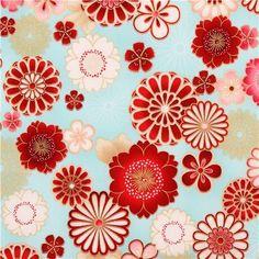tissu patchwork japonais fleurs japonaises sur fond bleu 45x55cm