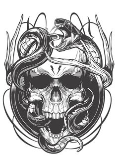 Different works 2017 on Behance Skull Tattoo Design, Skull Tattoos, Sleeve Tattoos, Tattoo Sketches, Tattoo Drawings, Skull Drawings, Pink Holographic Nails, Kunst Tattoos, Dark Drawings