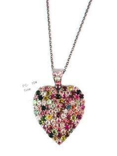 925 Sterling Silver Small Heart Tourmaline Pendant Necklace, Tourmaline Heart Necklace with Chain by Amitbardia on Etsy
