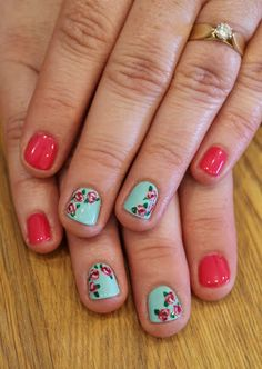 Roses gel polish mani. Gelish Gossip Girl and Gelish Postcards from Paris. ManiMondays: Foxy Foxes!