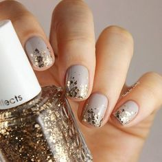 For holiday nail art this year I'm all about the sparkle! Whether it's full on bling or subtle hints of gold, I'm all over it. The good thing about adding some sparkle to your m…