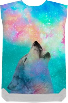 Dreamer of Dreams: Galaxy Wolf Howl Shift Dress (Limited Edition) from Print All Over Me