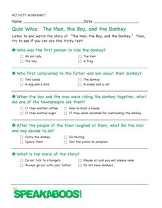 Quiz Whiz: The Man, the Boy and the Donkey | Speakaboos #Worksheets #quiz #education #kids