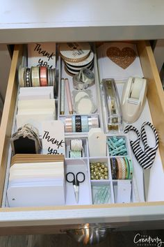 Creative Drawer Organizing Tips and Products - Kleiderschrank ideen - Creative Drawer Organizing Tips and Products Gift warp and stationary drawer The post Creative Dr - Organisation Hacks, Craft Closet Organization, Stationary Organization, Organizing Tips, Clutter Organization, Refrigerator Organization, Study Room Decor, Cute Room Decor, Aesthetic Room Decor
