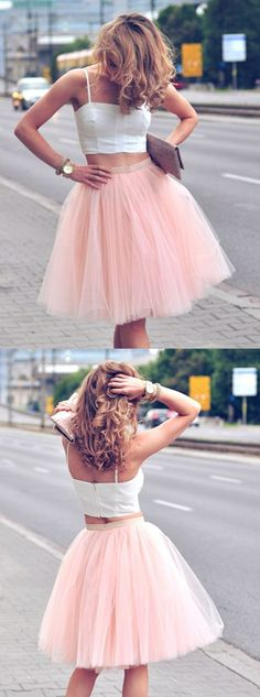 two pece homecoming dresses,tulle homecoming dresses,simple homecoming dresses,2017