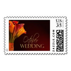 October calla lily wedding design postage  Repinned by Annie @ www.perfectpostage.com