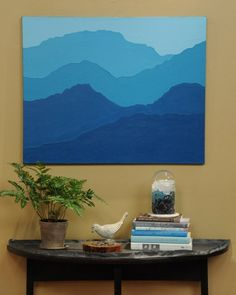 Mountain Painting - Martha Stewart Crafts by Technique: Beginner painting project, I think I might do it in purples and greys, but I imagine you could change the colors slightly to fit your decor :) Artwork,creative,Home Beginner Painting, Diy Painting, Painting & Drawing, Blue Painting, Diy Wall Art, Diy Art, Ideias Diy, Mountain Paintings, Mountain Mural