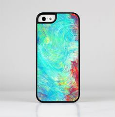 The Vibrant Colored Messy Painted Canvas Skin-Sert for the Apple iPhone 5-5s Skin-Sert Case