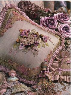 Vintage Pillows… Ribbon Roses…