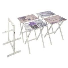 S/4 WOODEN TRAY TABLE W/LAVENDER PRINT AND BASE 48X35X65