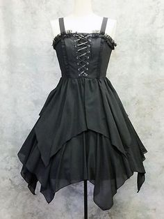 theyellowpagesofkawaii:  #Lolita #Moi-meme-Moitie #fashion Asymmetry Lace-Up Jumper dress. Buy here!