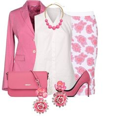 Shades of Pink and White Floral Skirt Set - - A fashion look from February 2015 featuring white blouse, pink blazer and white pencil skirt. Browse and shop related looks. Komplette Outfits, Classy Outfits, Stylish Outfits, Fashion Outfits, Womens Fashion, Skirt Outfits, Look Chic, Work Fashion, Ideias Fashion