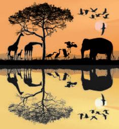 illustration savana with giraffes, herons and elephant Free Vector Images, Vector Free, Elephant, Africa, Herons, Stock Photos, Giraffes, Creative, Illustration