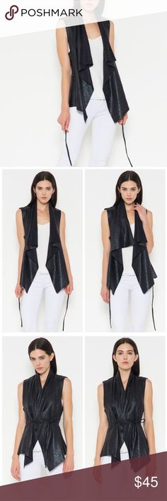 Faux Leather Moto Vest This super chic faux leather moto vest is part of the new Vega Boutique P R E M I U M Line. Draped style lapel. Leave it open for a more casual feel, or wear it tied for an edgier look! Material content - 95% polyester, 5% spandex; lining: 100% Rayon. VegaBoutique Jackets & Coats Vests