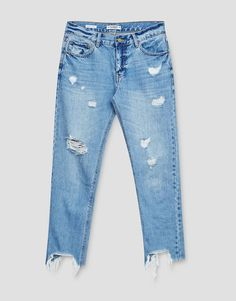 Straight fit jeans with ripped hem - Denim Collection - Denim - HIDDEN - PULL&BEAR United Kingdom