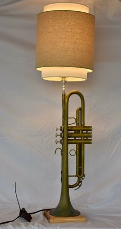 Excited to share this item from my shop: Recycled/New Musical Instrument Trumpet Table Lamp. New Lamp Parts. Trumpets For Sale, Trumpet Instrument, Jazz Lounge, Ceiling Fan, Ceiling Lights, Creative Lamps, Lamps For Sale, Light Of My Life, Musical Instruments