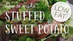 This vegan low- fat stuffed sweet potato recipe will be a hit at your next dinner party! Enjoy this HCLF vegan recipe! Sweet Potato Recipes, Vegan Recipes, Potatoes, Fat, Place Card Holders, Dinner, Dining, Vegane Rezepte, Potato
