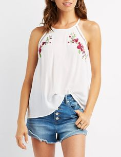 Embroidered Bib Neck Tank Top | Charlotte Russe