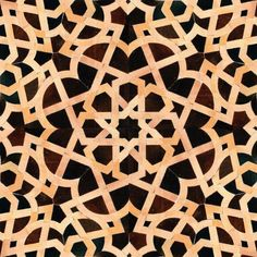 Moroccan Tile Design for Living Room and Terrace: Moroccan Tile Design Dark Brown, Black, And Cream Tiles Curve Pattern