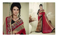 http://www.thatsend.com/shopping/lp/fvp/TESG202526/i/TE265584/iu/red-georgette-designer-saree  Red Georgette Designer Saree Apparel Pattern Embroidered. Work Embroidery, Border Lace. Blouse Piece Yes. Occasion Ceremonial, Festive. Top Color Black.