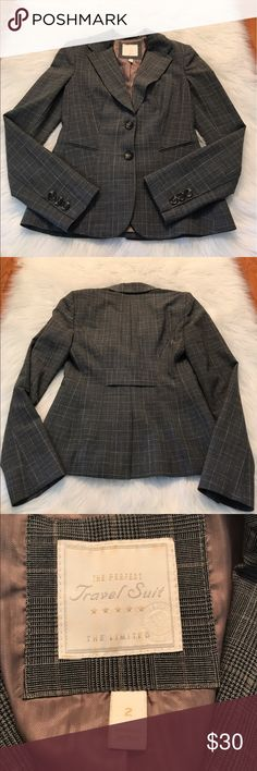 """THE LIMITED """"The Perfect Travel Suit"""" Blazer Beautiful and stylish! The perfect blazer for work or play! Pair up with slacks or skirt for work, or t-shirt and jeans for date night! Excellent pre-owned condition, with some snags on the inside lining see last picture/ measurements: approximately 23"""" length from back of neck to bottom/ 18"""" length from armpit to end of sleeve/ color: plaid, grey & brown/ Size: 2/ 55% polyester/ 42% wool/ 3% spandex/ The Limited Jackets & Coats Blazers"""