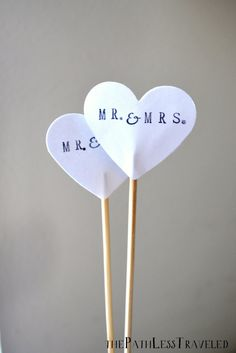 MR. & MRS. and custom date hand stamped cake topper, black and white or custom colors