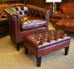 Leather Chairs of Bath Amsterdam Chair with buttoned back, and buttoned top Amsterdam Stool.