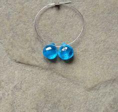 Electric Blue Apatite Faceted Heart Briolette