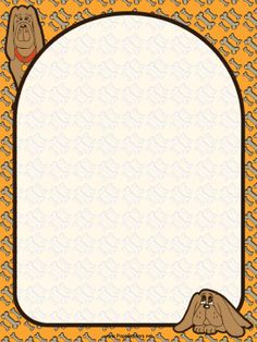 Two cute, brown bloodhounds sit on an orange background decorated with bones in this free, printable dog border. Free to download and print.