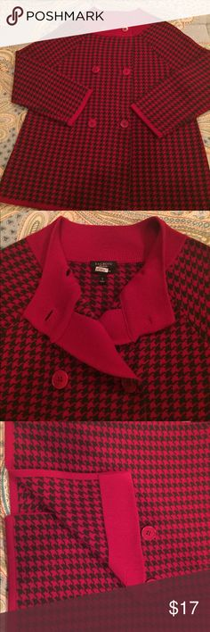 TALBOTS - SM - Jacket-Sweater Talbots, wonderful sweater-jacket, size Small.  Very similar to St. John's knits.  Red and Dark Brown Houndstooth. Elegant and classy.  Lovingly cared for, dry cleaned.  Merino Wool, tightly knit.  No smoking home and no pets!  Check out measurements.  Looks equally great with dressy slacks, a pencil skirt or jeans.  Purchased new at Talbots.  FYI: bar code shown in second photo is from our dry cleaners. Talbots Jackets & Coats Blazers
