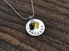 Green Bay Packers Hand Stamped Metal Sports Necklace.