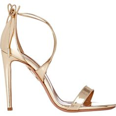 Aquazzura Women's Linda Sandals (253.390 CLP) ❤ liked on Polyvore featuring shoes, sandals, heels, sapatos, high heels, gold, metallic leather sandals, leather heeled sandals, leather shoes and criss cross sandals
