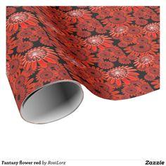 Fantasy flower red geschenkpapier